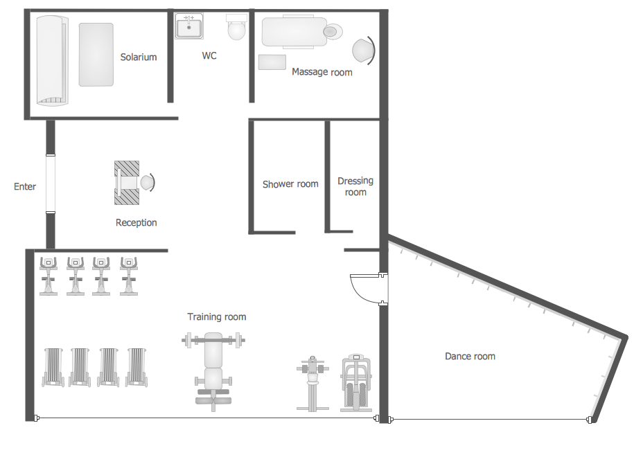 Conceptdraw samples building plans gym and spa area plans for Gym floor plans