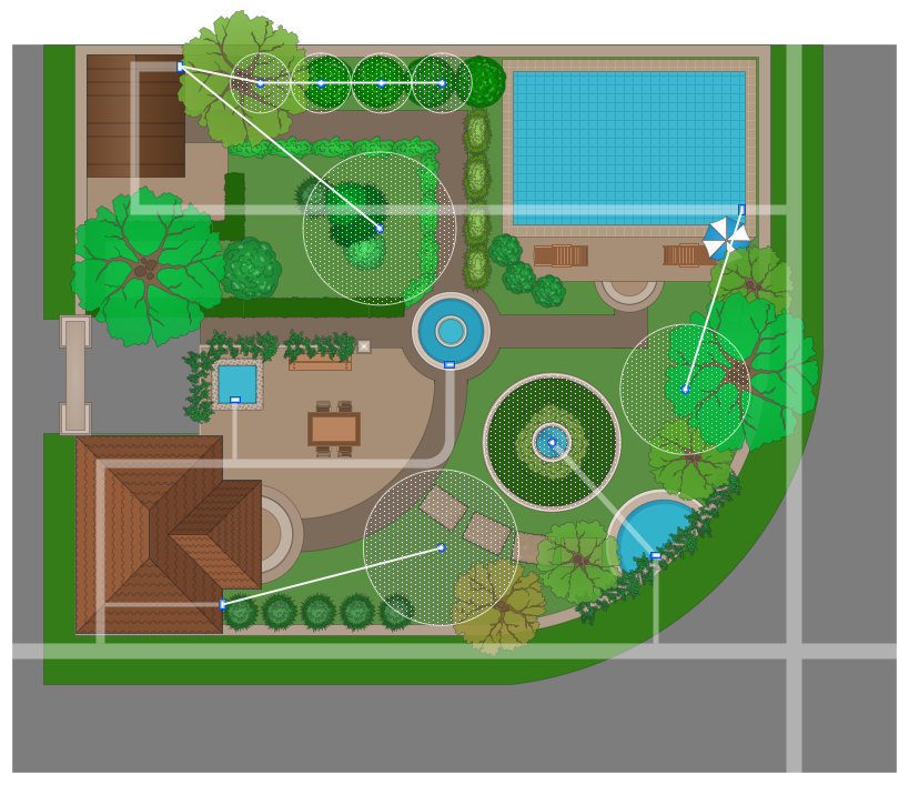 ConceptDraw Samples | Building plans — Landscape and garden on Backyard Layout Planner id=28909