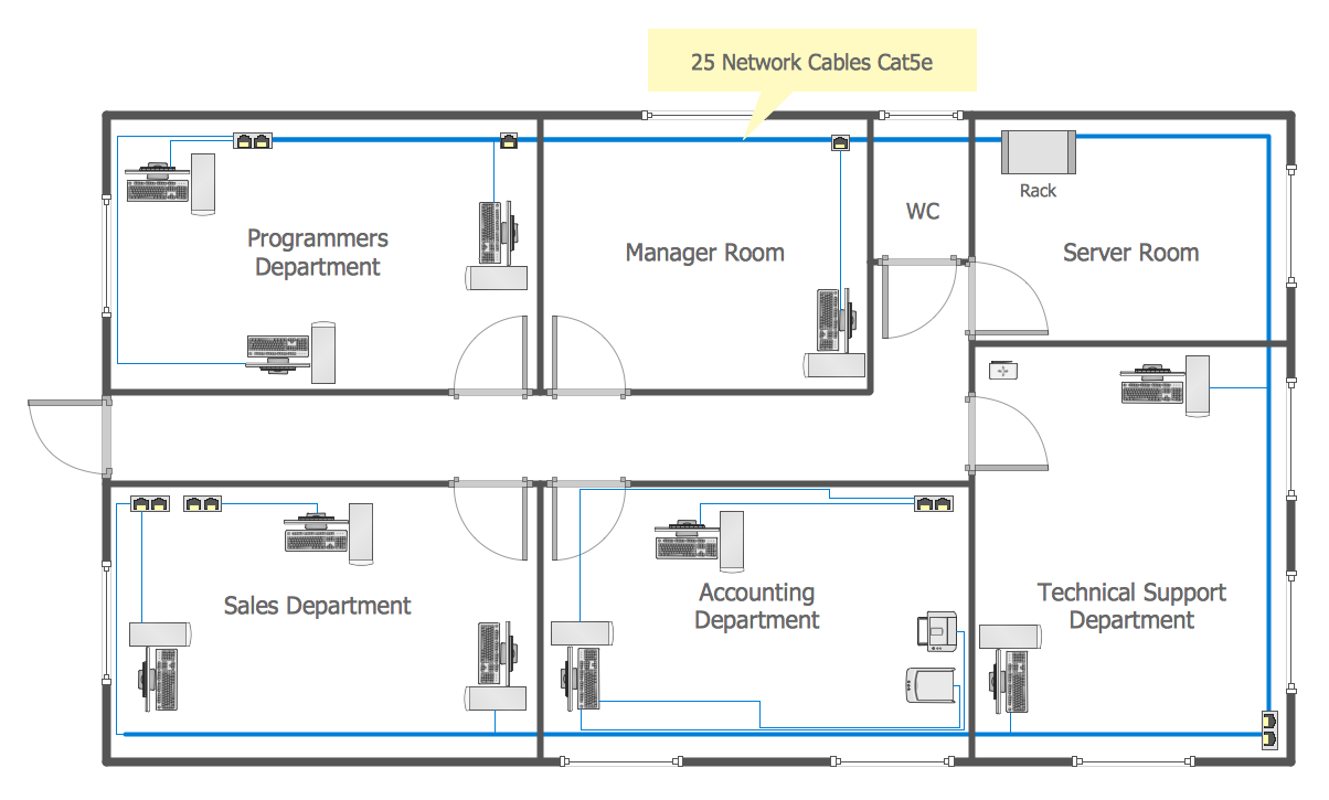 Conceptdraw samples computer and networks network Electrical floor plan software