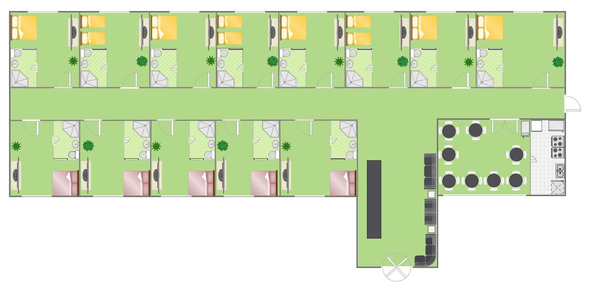 Conceptdraw samples building plans floor plans for Hotel bedroom layout design