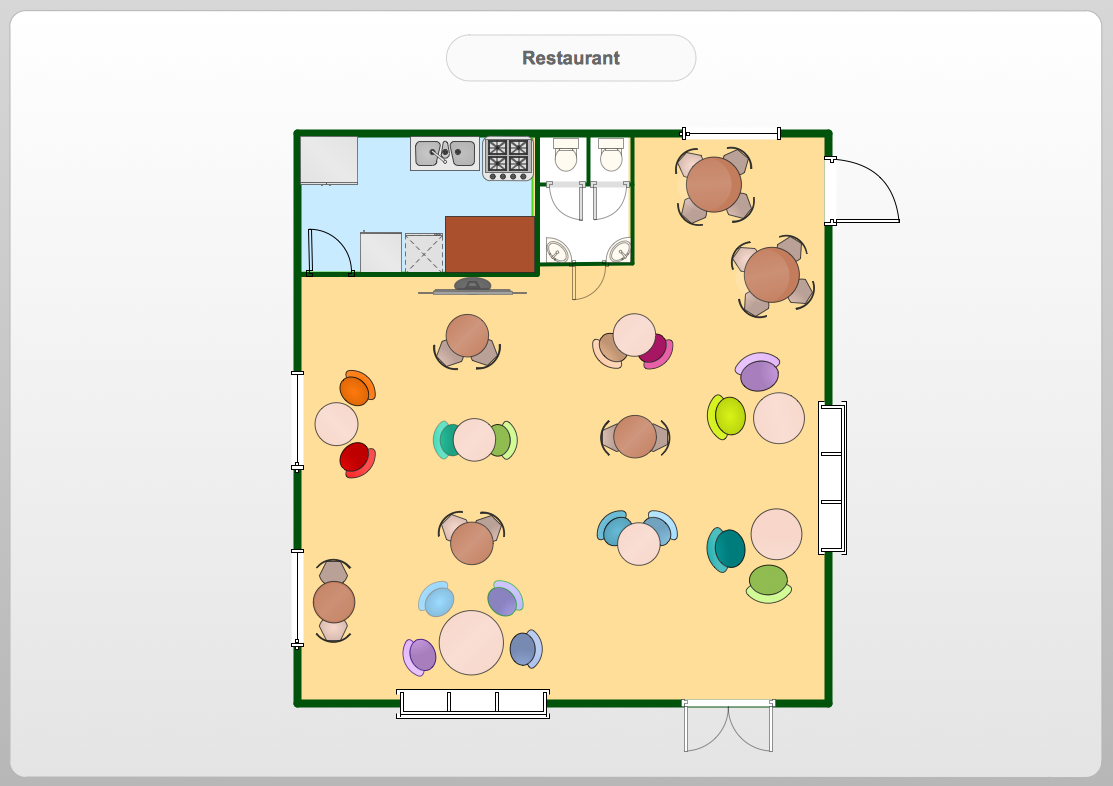 Conceptdraw samples floor plan and landscape design for Restaurant layout floor plan samples