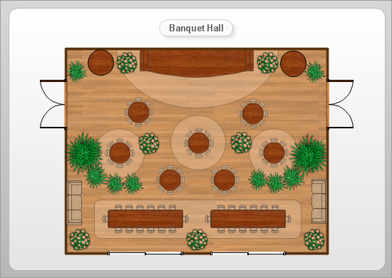 Conceptdraw samples floor plan and landscape design for Banquet hall designs layout