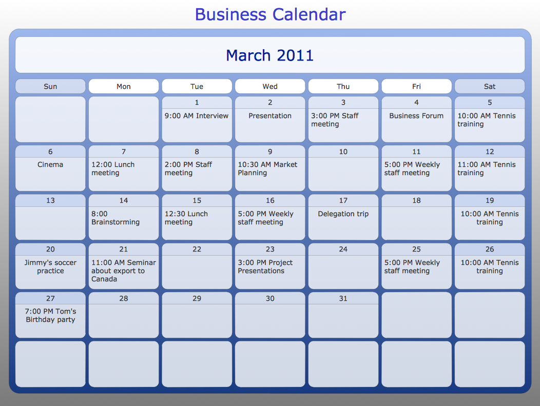 ConceptDraw Samples – Sample Calendar