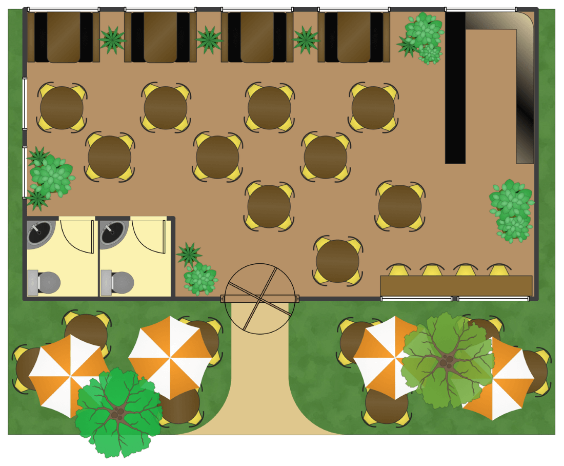 Fancy restaurant buildings clip art - This Example Is Created Using Conceptdraw Pro Diagramming Software Enhanced With Cafe And Restaurant Plans Solution From Conceptdraw Solution Park