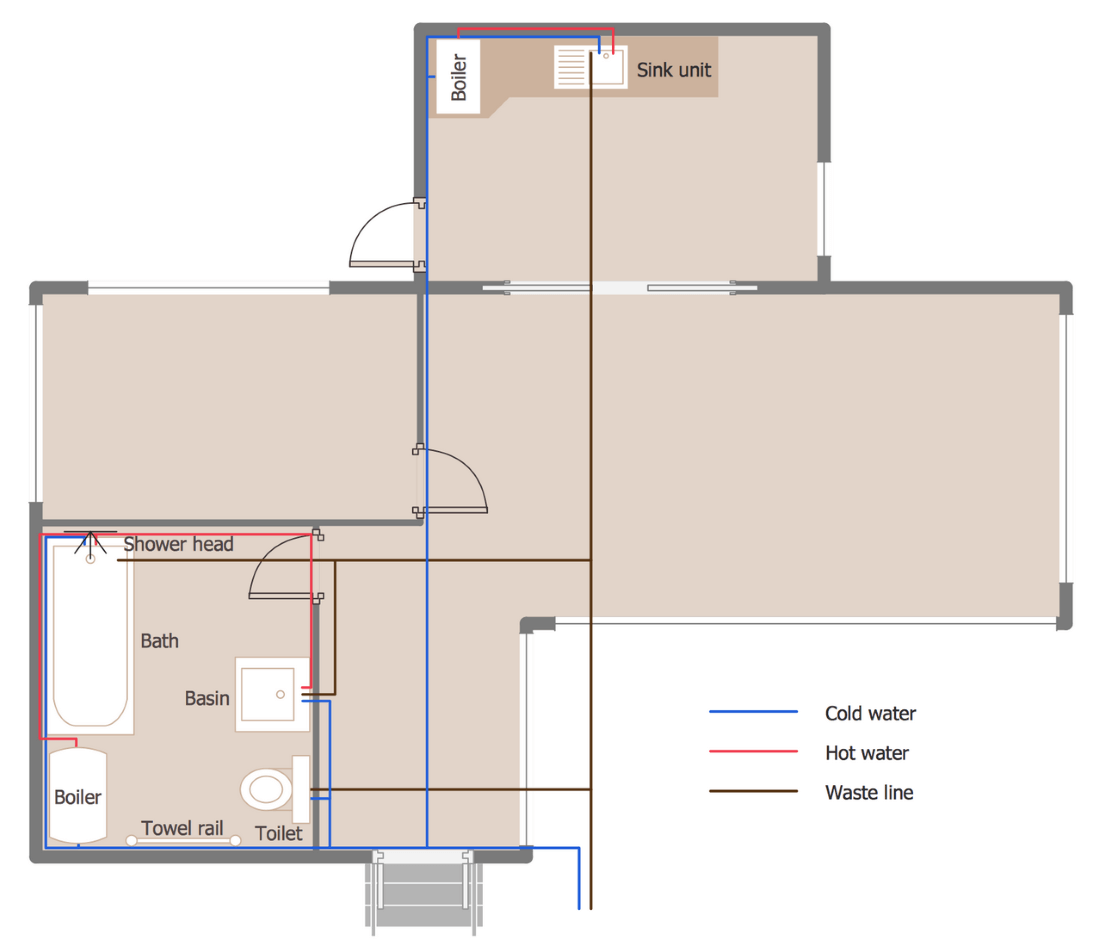 ConceptDraw Samples   Building plans - Plumbing and piping