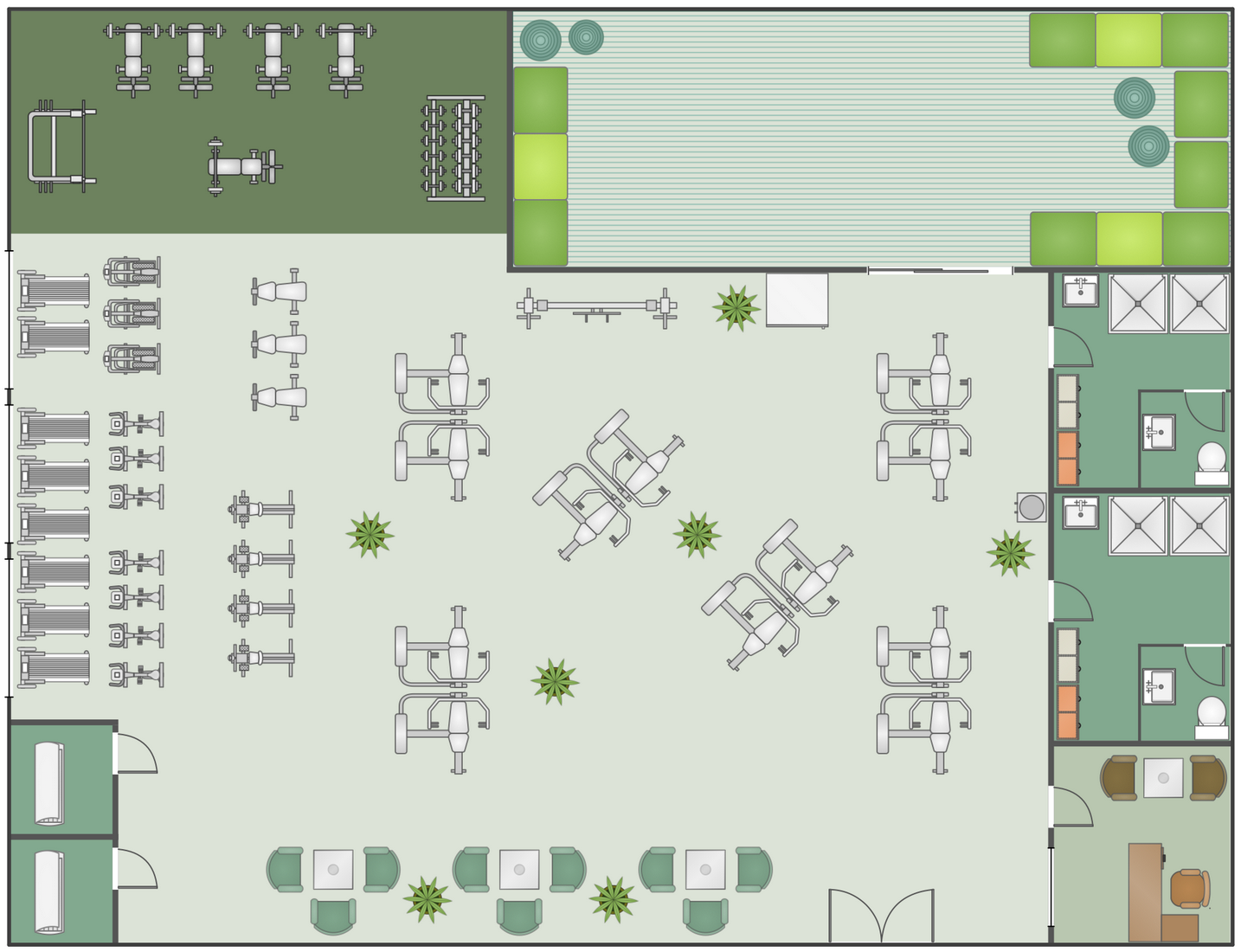 conceptdraw samples building plans gym and spa area plans henson gymnasium and cafeteria floor plan cunningham