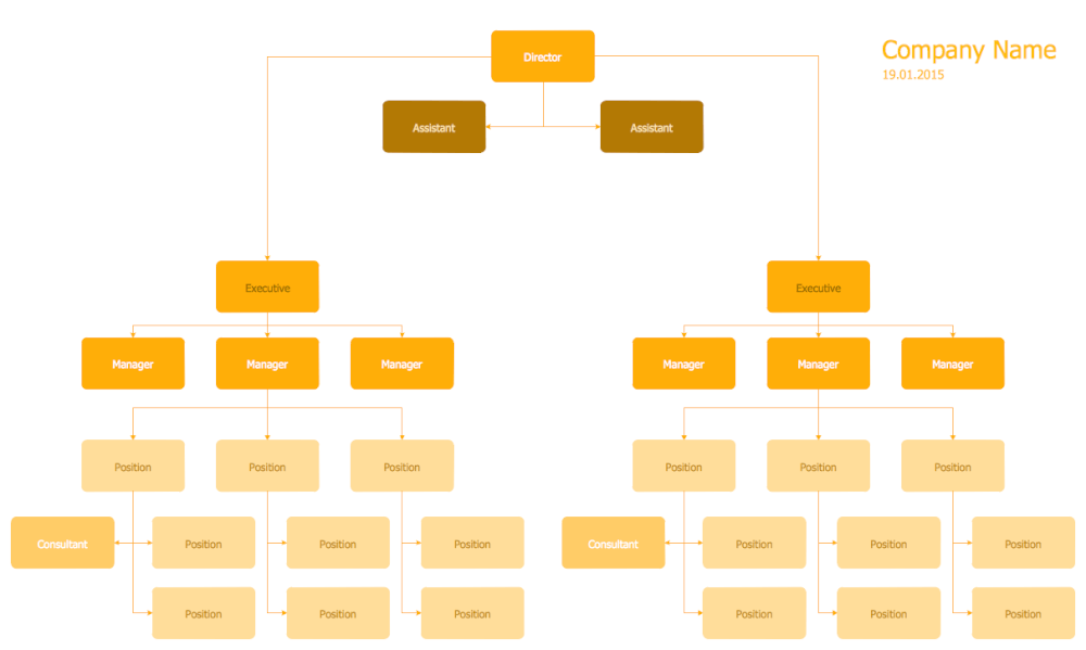 Hierarchical Org Chart Template 5