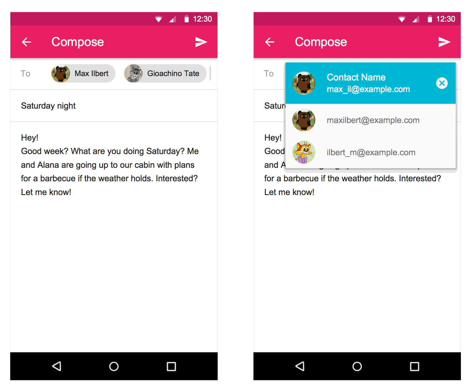 Android UI Design — Contact Chips