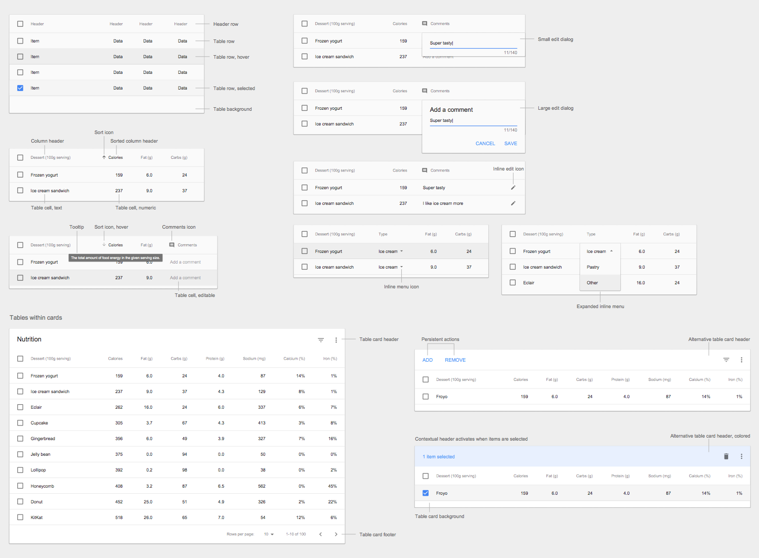 Design Elements — Android Data Tables