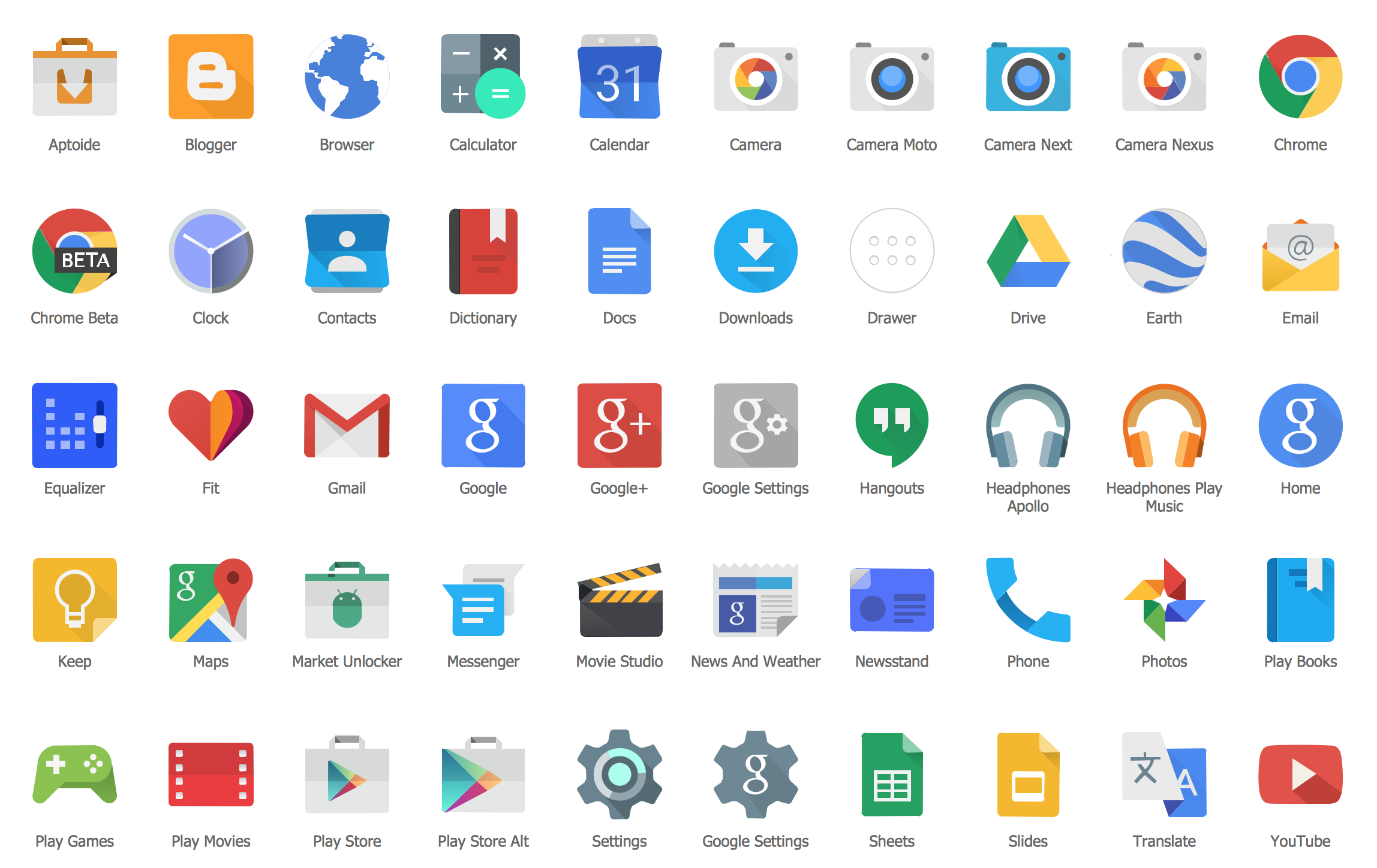 Android UI Design Elements — Android Product Icons