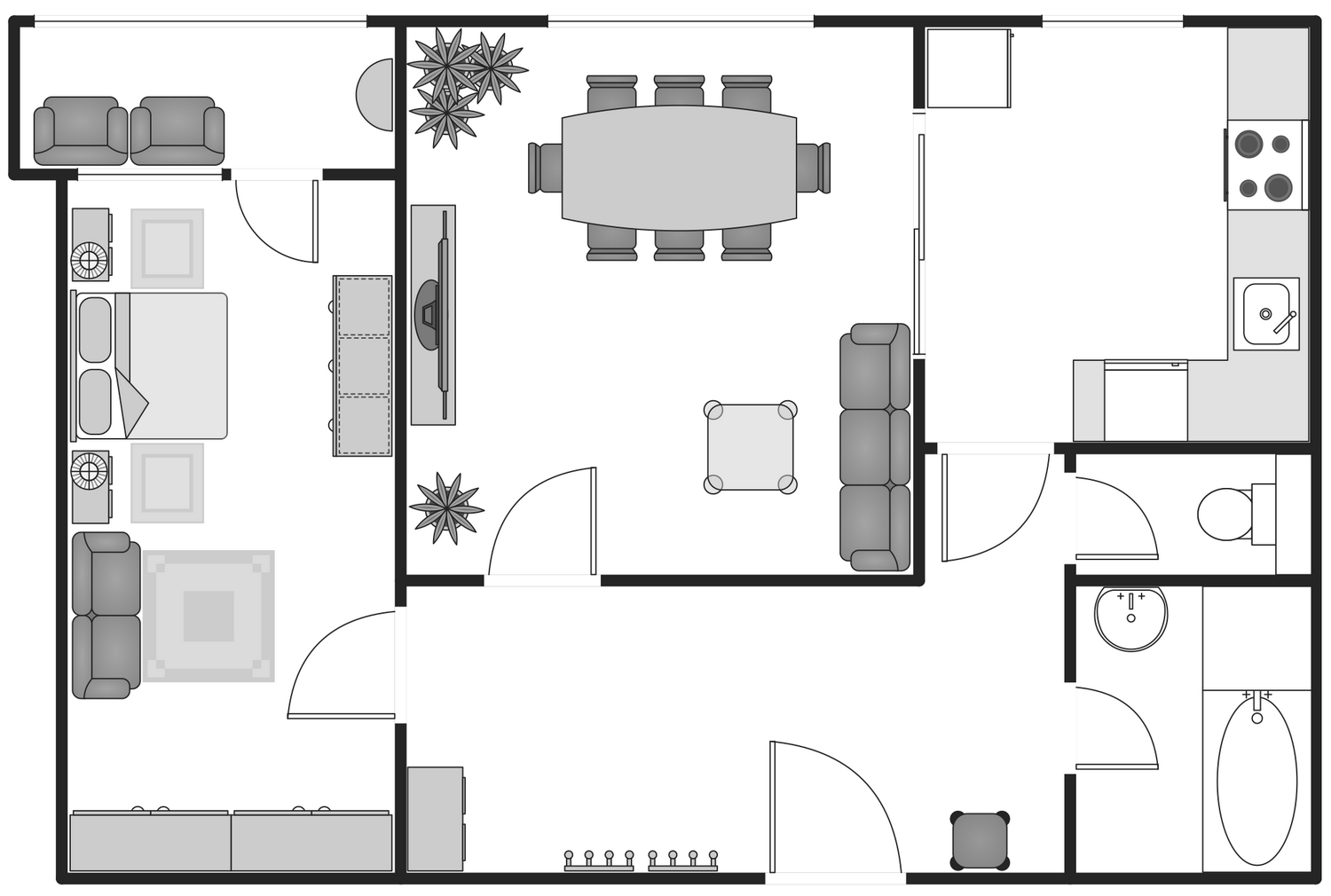 Basic floor plans solution for Apartment plans building