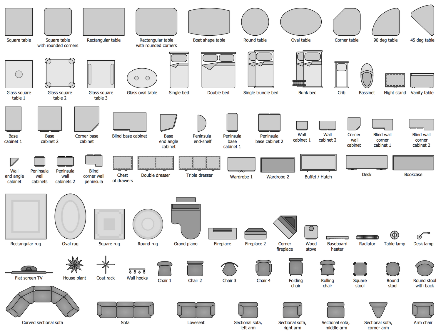 Basic floor plans solution conceptdraw design elements basic furniture malvernweather Image collections