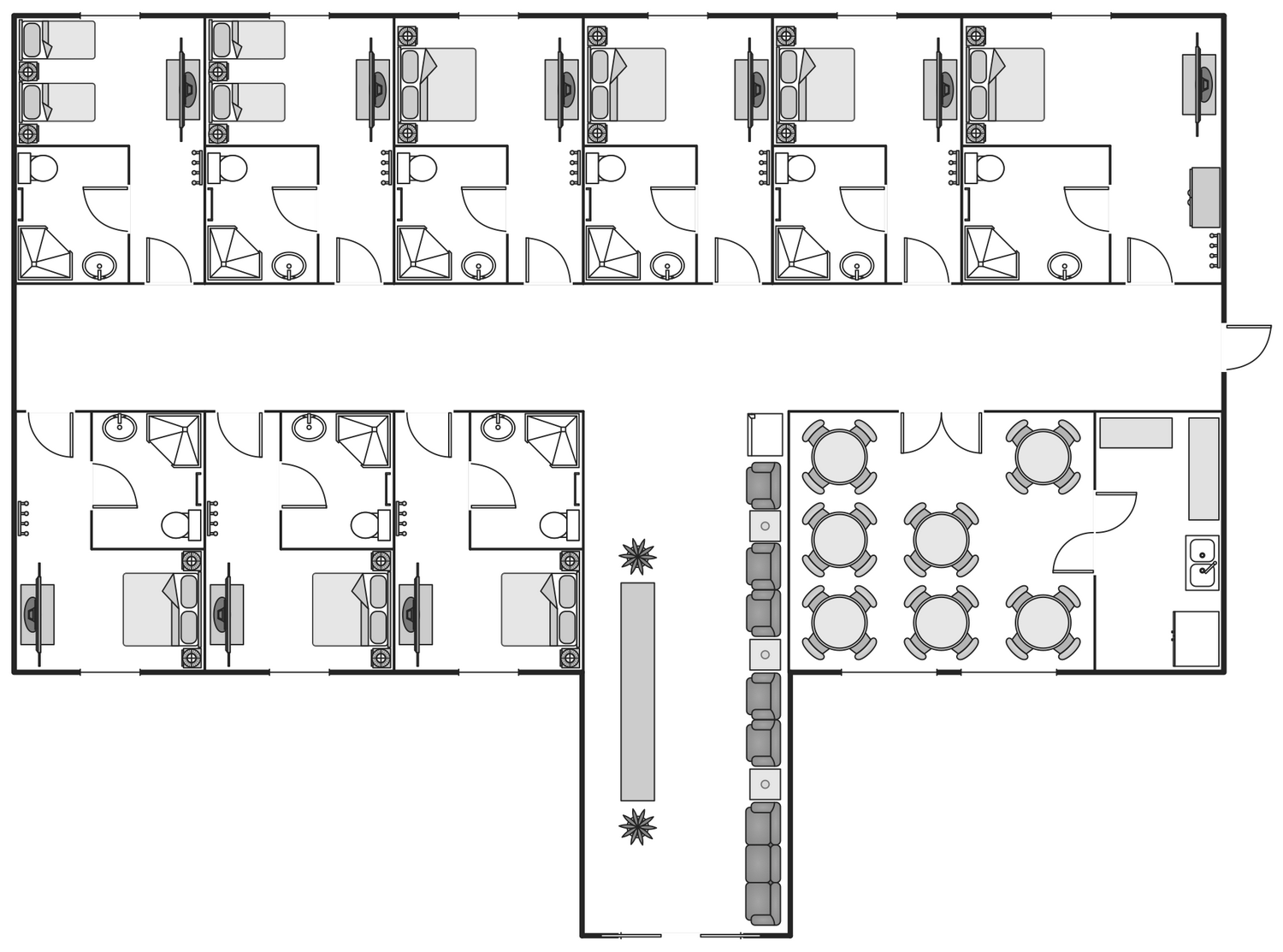 Basic floor plans solution for Hotel design layout