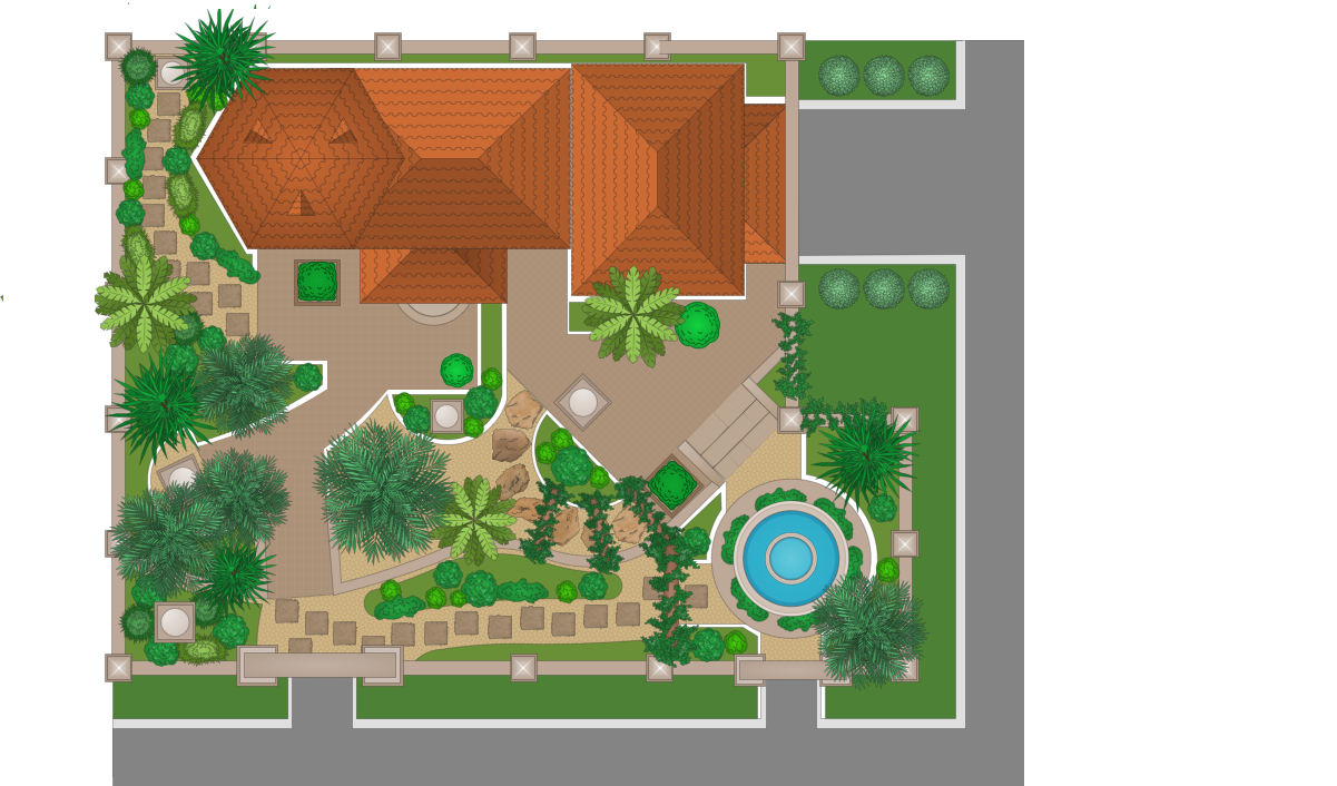 Landscape garden solution for Garden landscape drawing