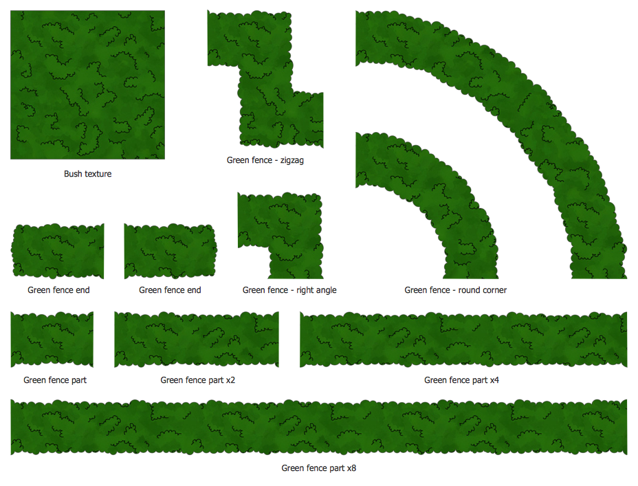 Design Elements — Bushes and Trees (green fence)