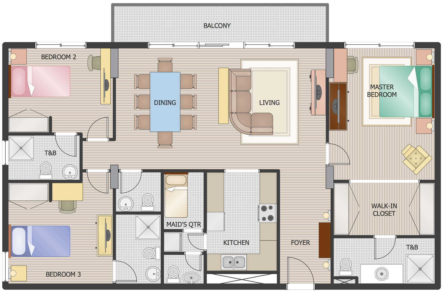 3 Bedroom House Floor Plan