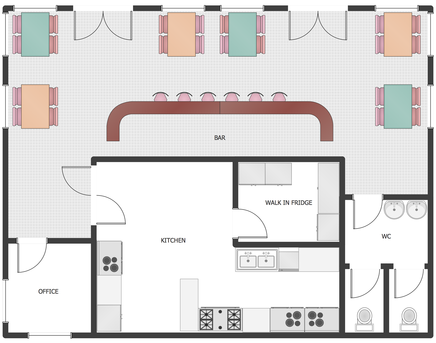 Food Service Building Floor Plans