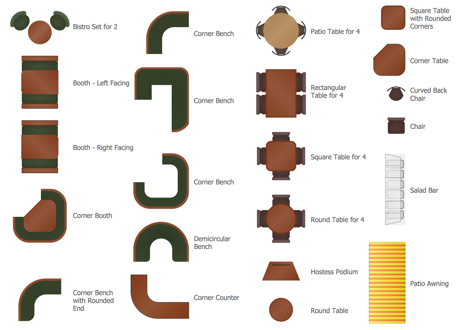 Design Elements — Cafe and Restaurant Floor Plan and Furniture