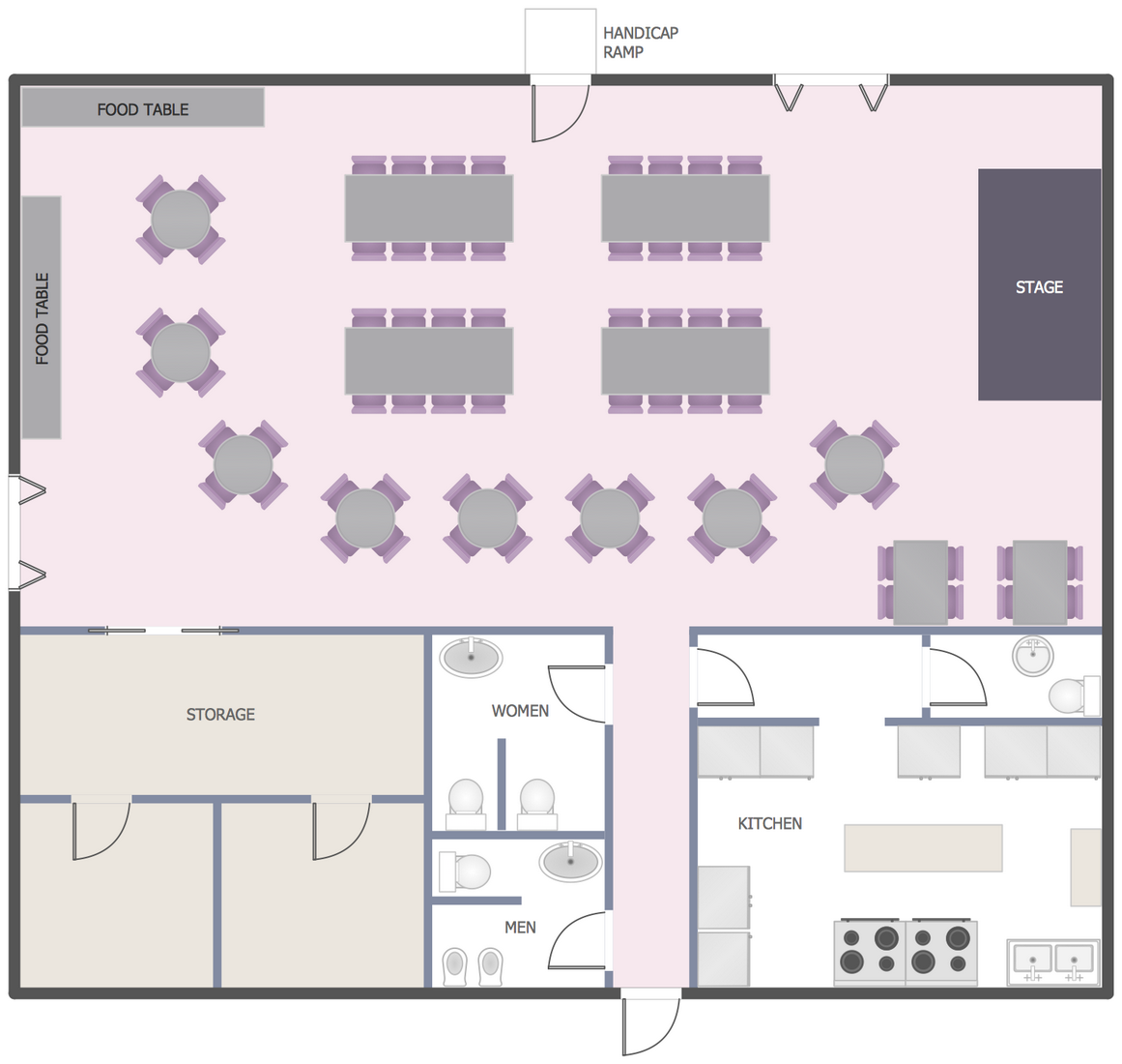 Kitchen Floor Plans Online Cafe And Restaurant Floor Plan Solution Conceptdraw Com