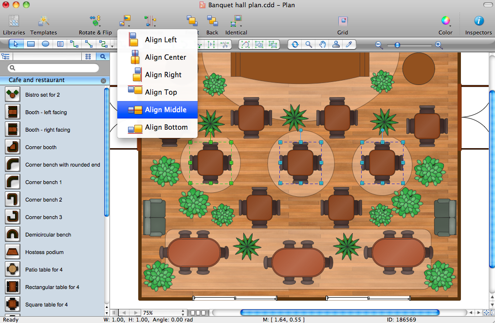 Make a layout for a restaurant with conceptdraw pro for Restaurant design software
