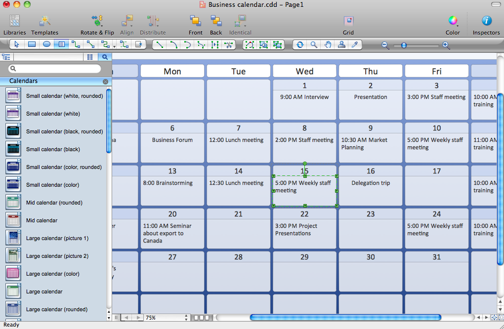 Calendar Design Software : Calendars solution conceptdraw