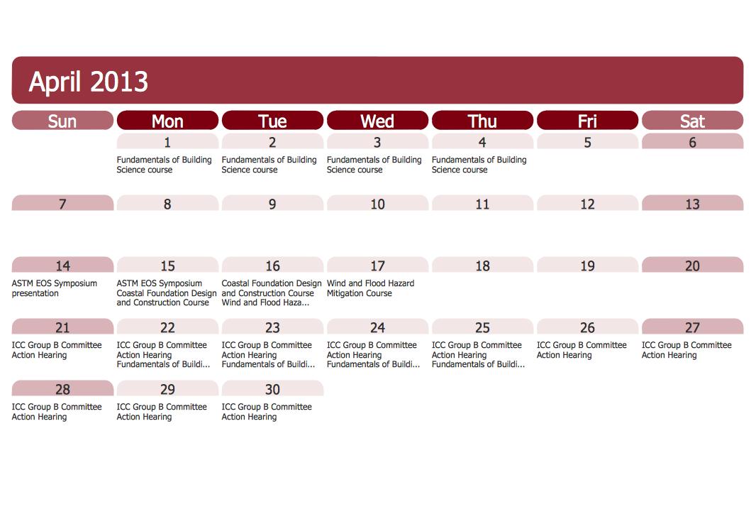 Calendars Solution Conceptdraw Com
