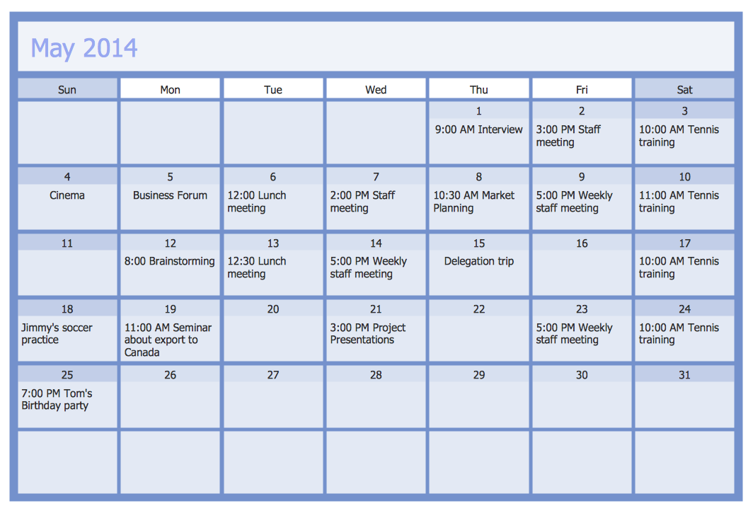 Corporate Calendar Template : Calendars solution conceptdraw