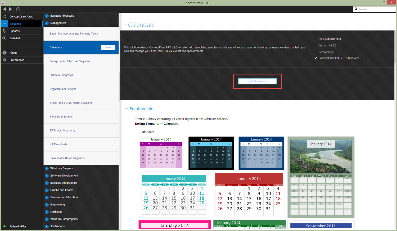 Calendars Solution - Install