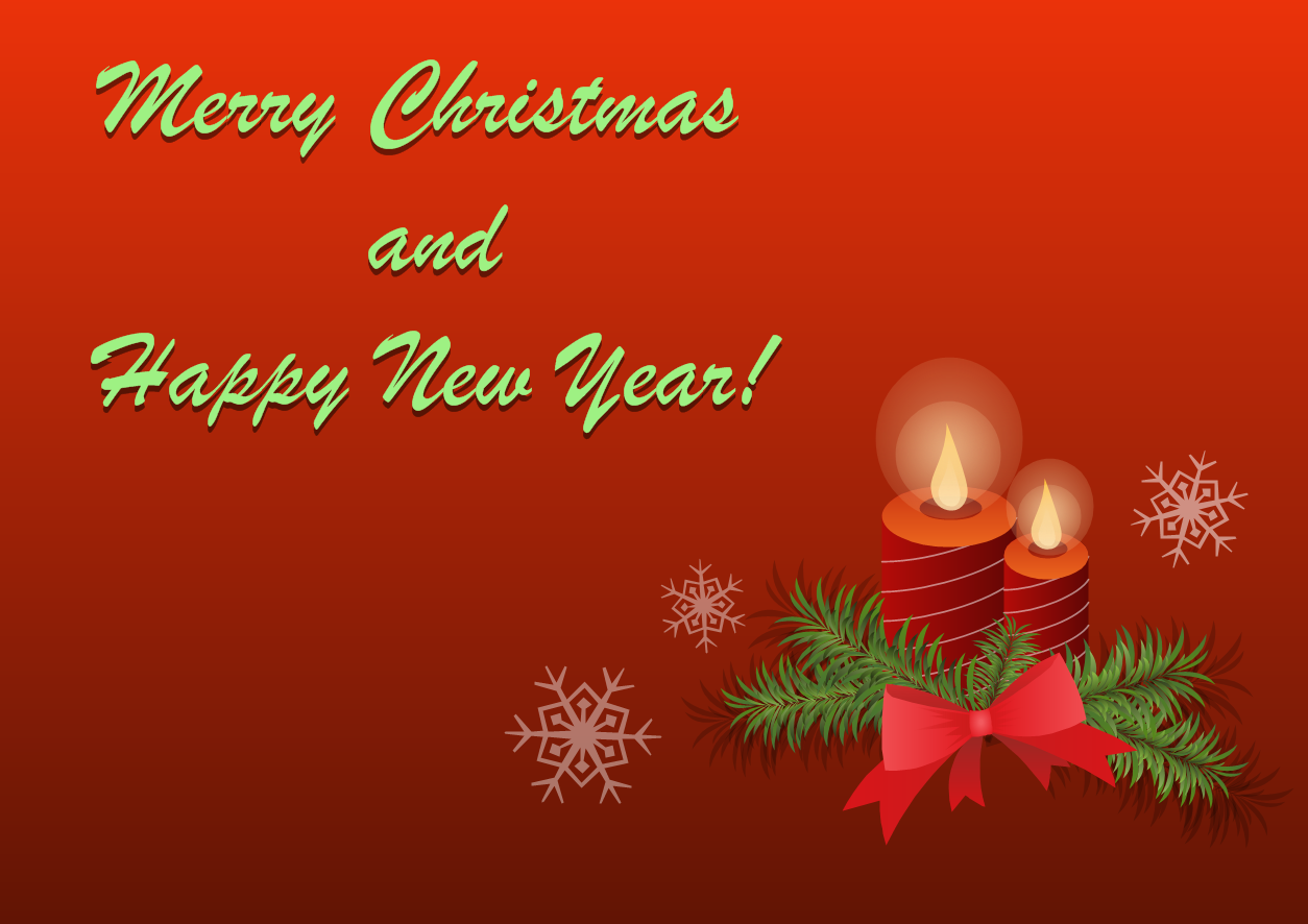 Merry Christmas and Happy New Year Greeting Card Template - Christmas Candles