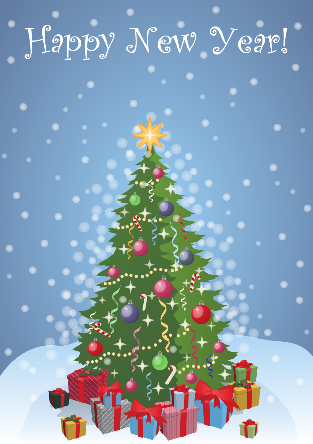 New Year Card — Christmas Tree with Gifts