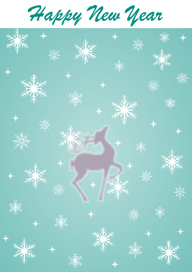 New Year Card Template - Christmas Reindeer