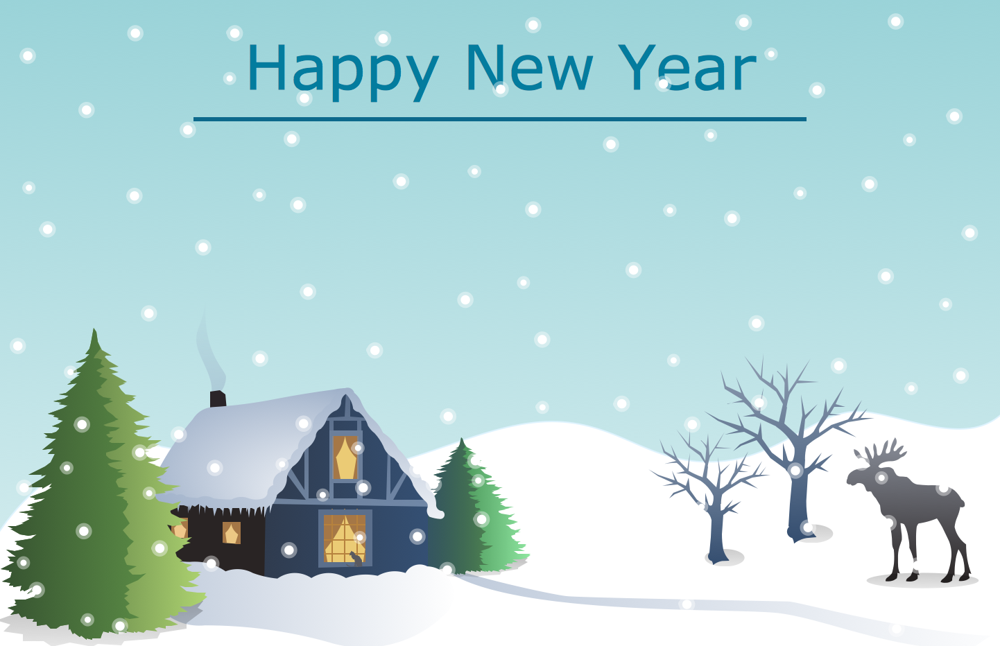 New Year Card Template - Christmas Winter Landscape