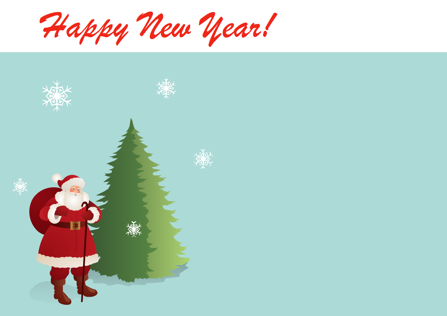 New Year Card Template. Santa Claus near a Christmas tree