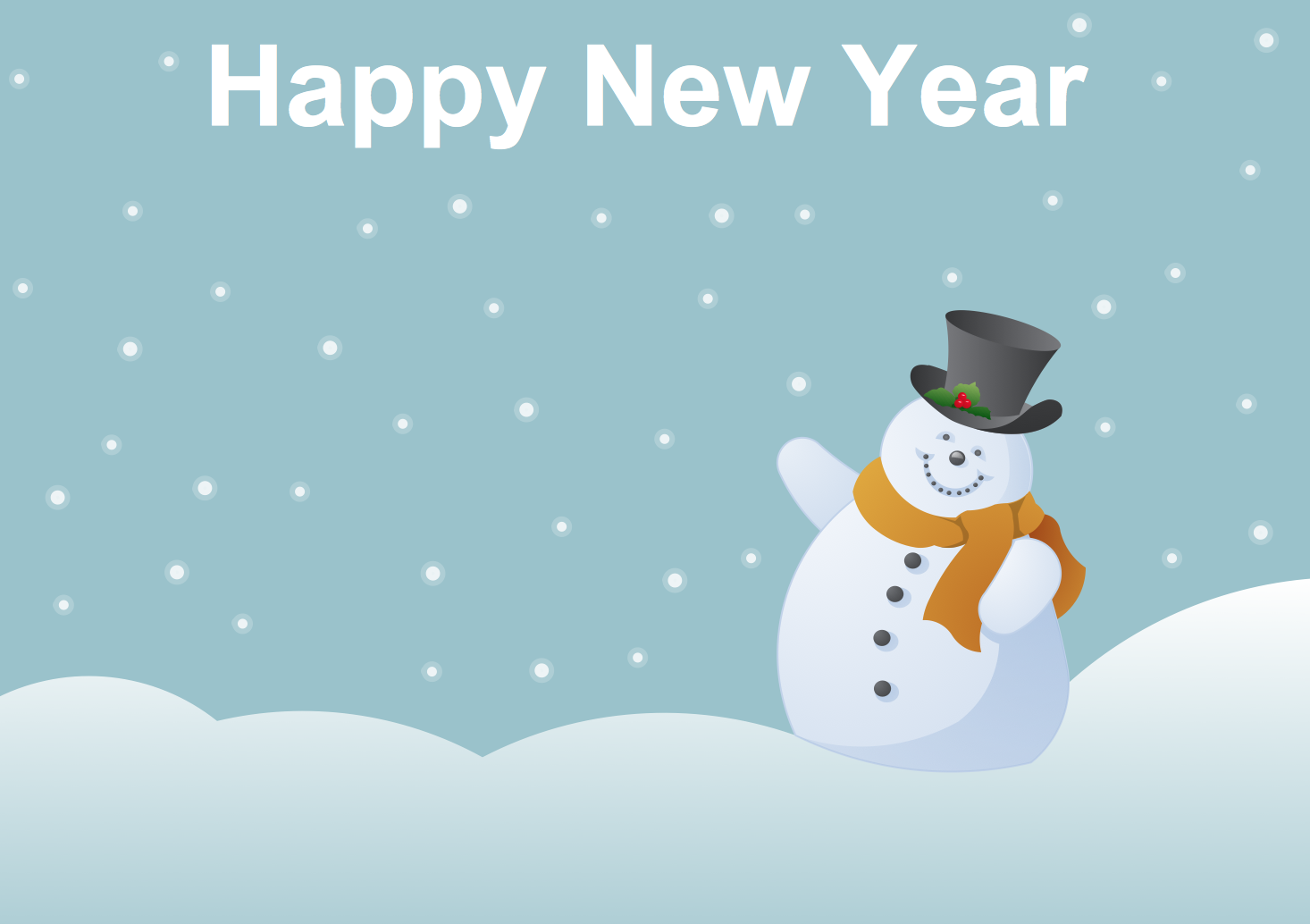 New year card template. Snowman