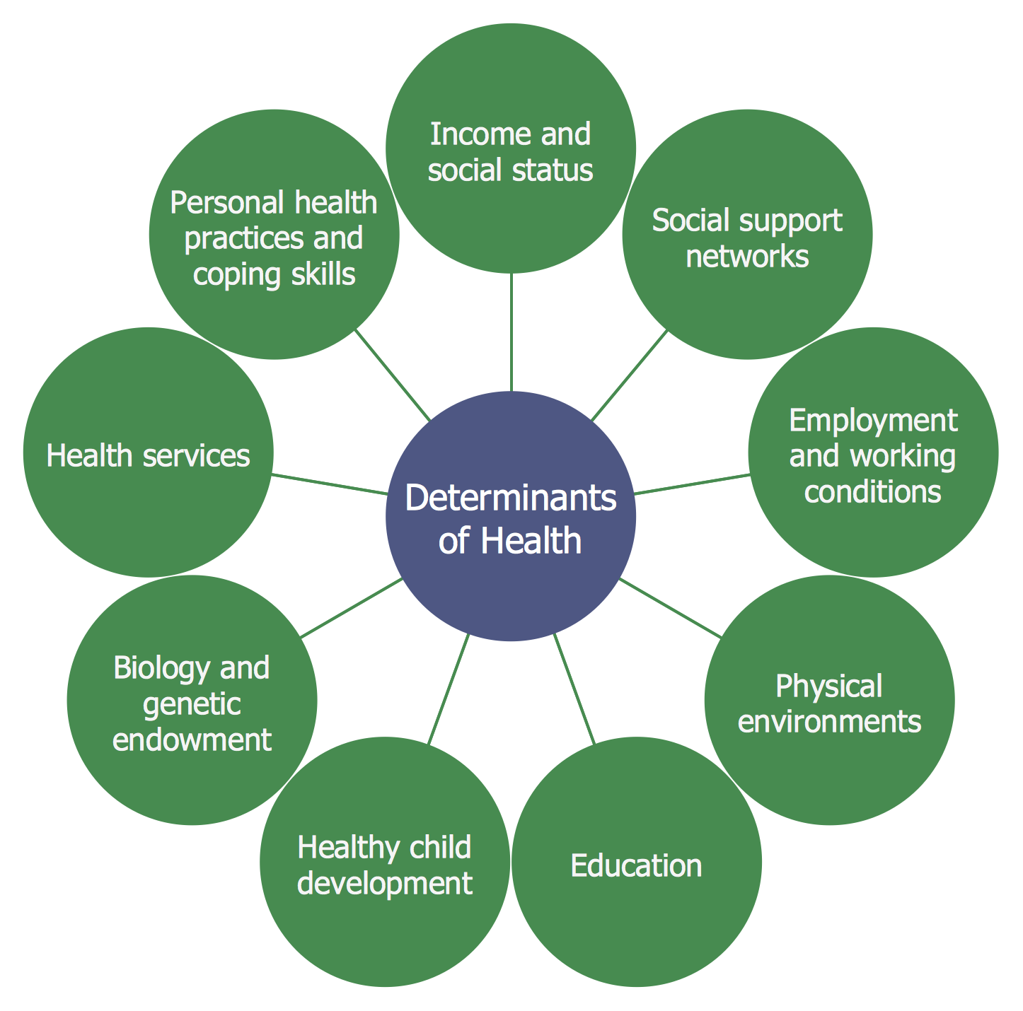 Circle-spoke Diagram — Social Determinants of Health