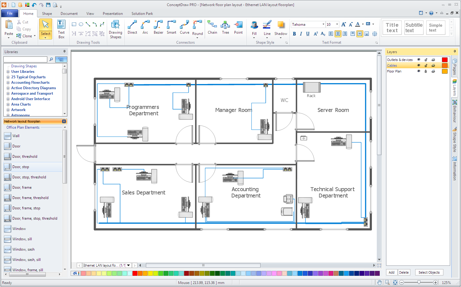 Office network floor plan for Draw office floor plan
