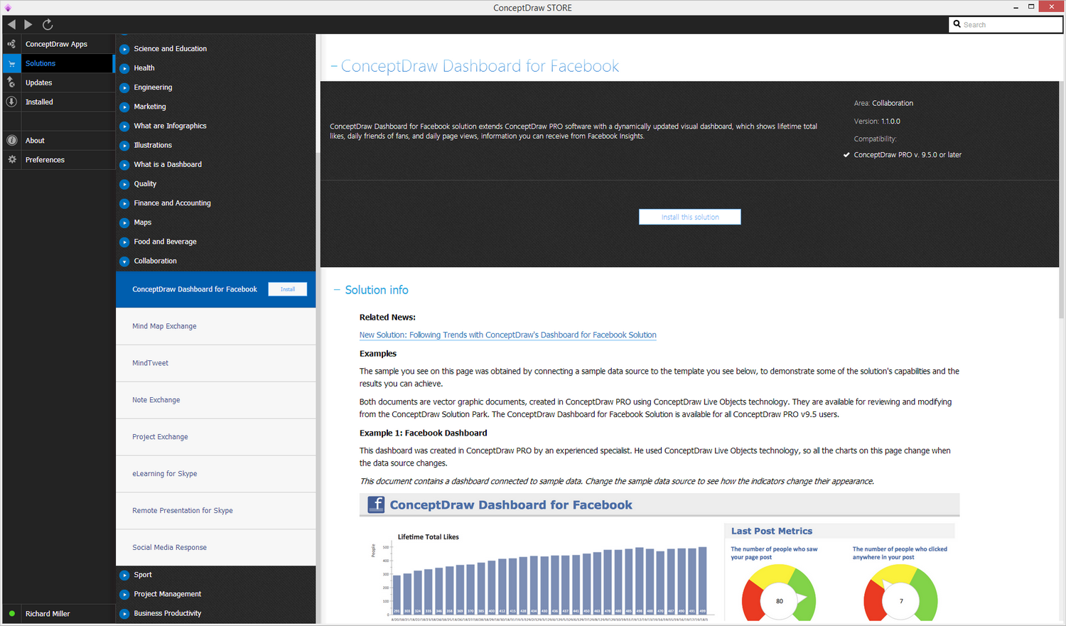 dashboard for facebook solution conceptdraw com diagram of impact