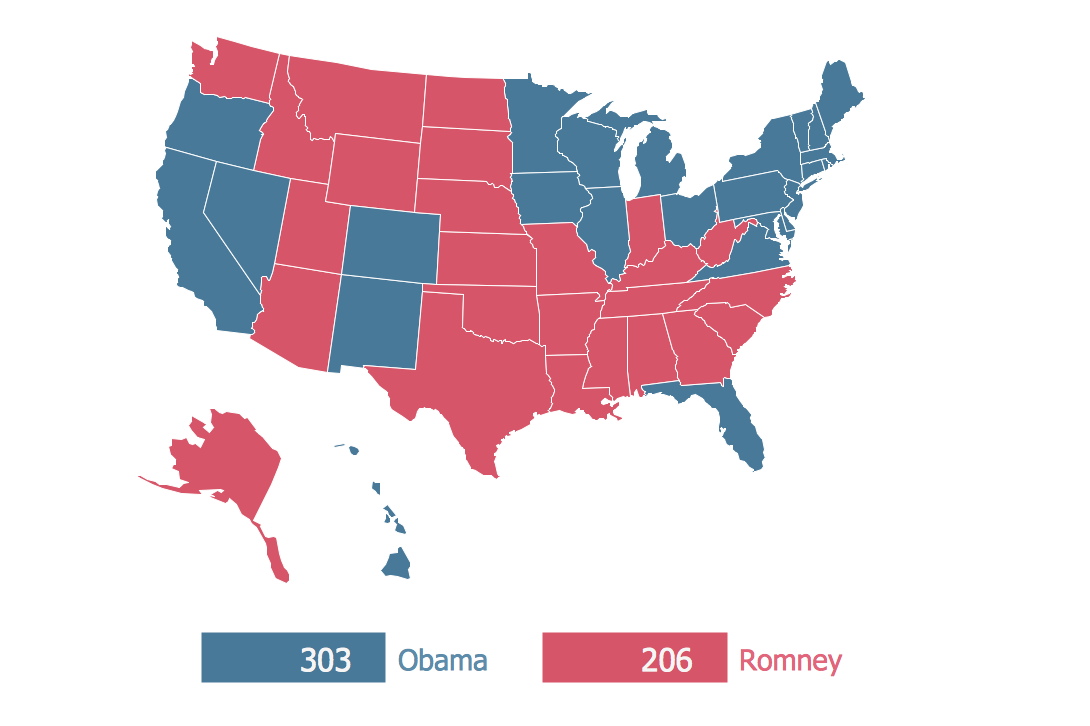 Continent Map — 2012 US Presidential Election Results