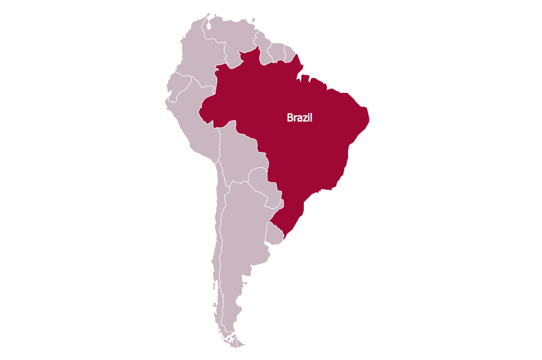 Continent Map — Brazil in South America