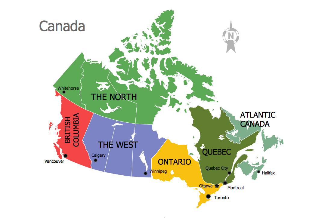 Continent Maps Canada Regions Map sample