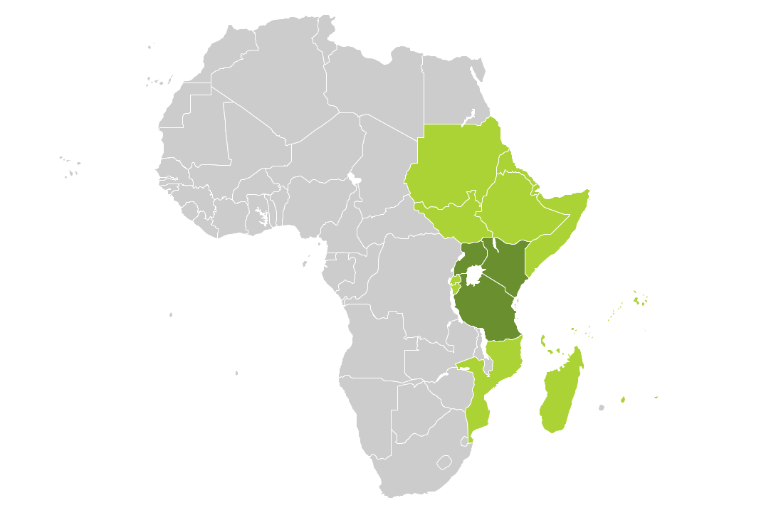 Continent Map — East Africa Countries