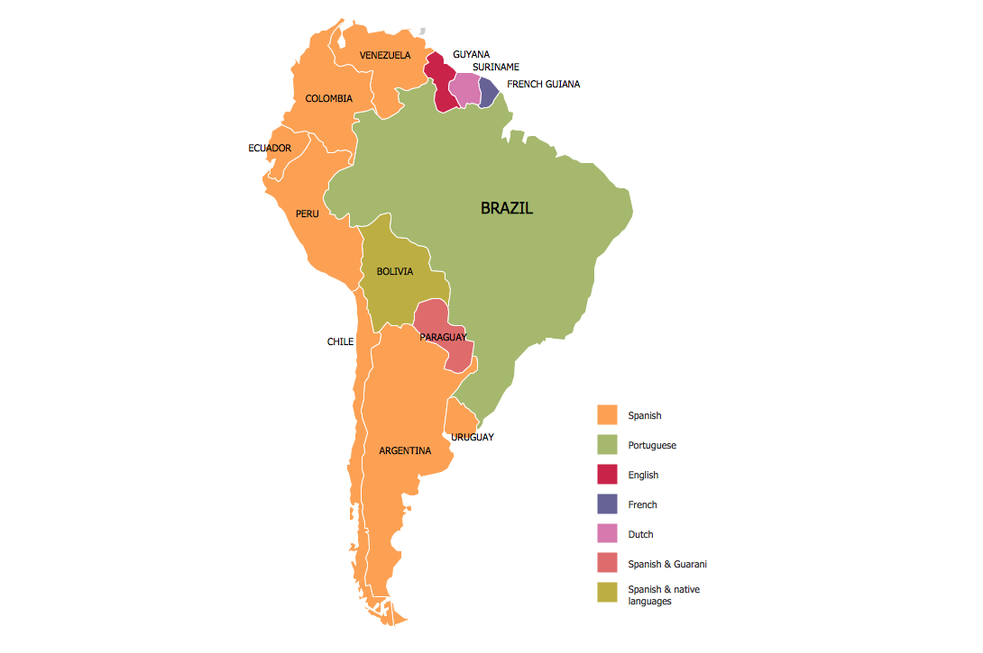 Continent Map — Languages of South America