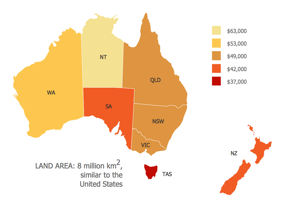 Continent Map — Map of Median Household Income in Australia