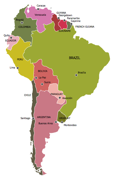 Continent maps solution conceptdraw continent map south america map south american color gumiabroncs Image collections