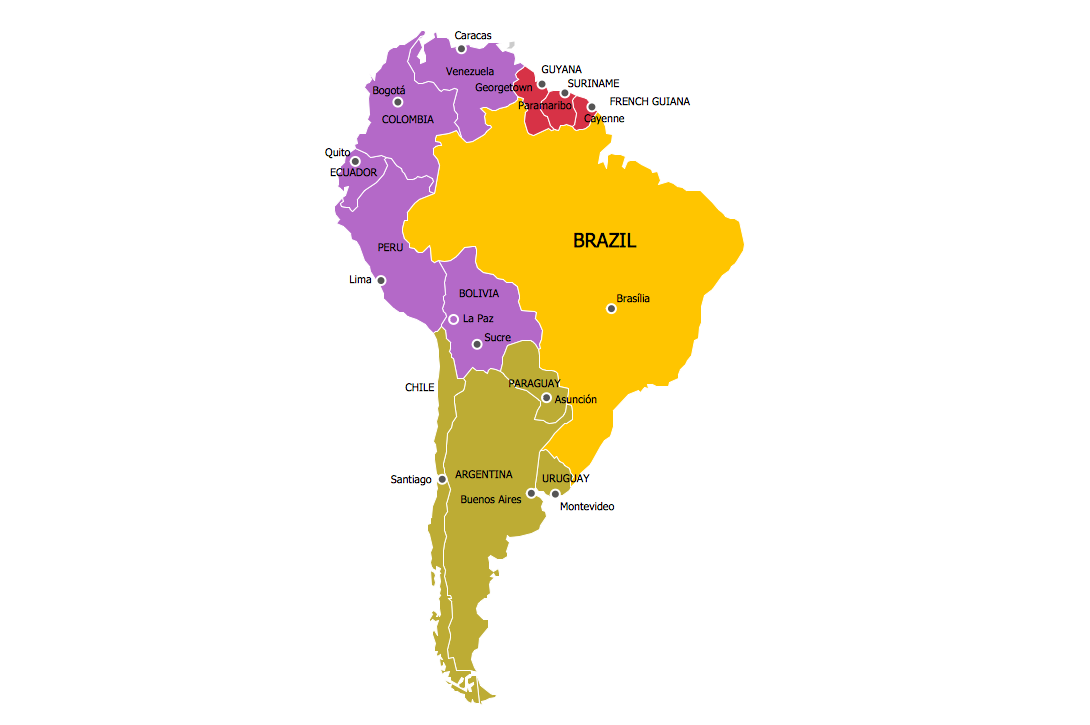 South American Color Coded Regions