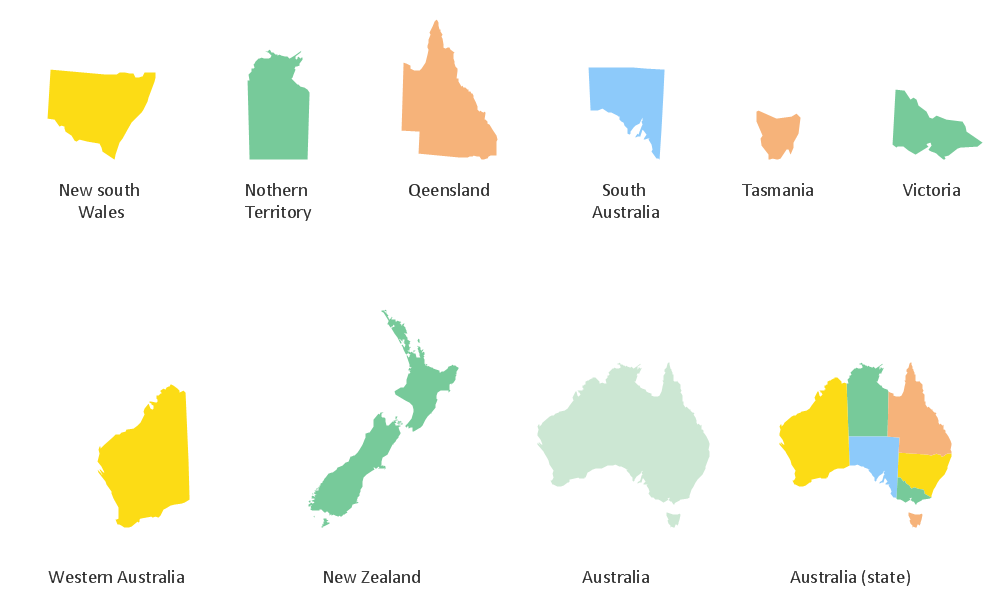 Continent Maps - Design Element Australia