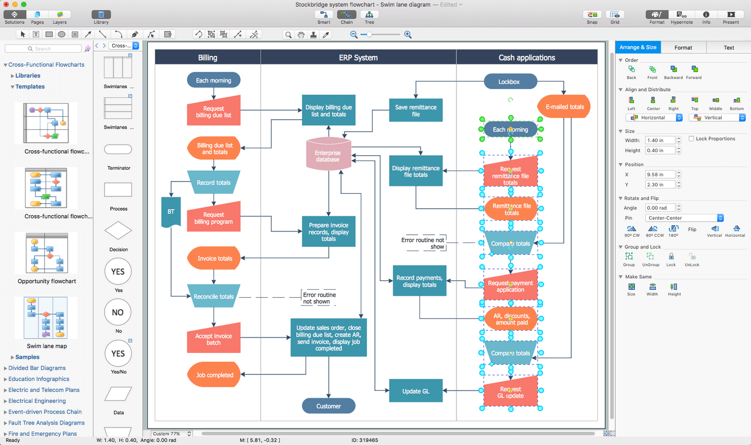Cross-Functional Flowcharts Solution for Apple OS X