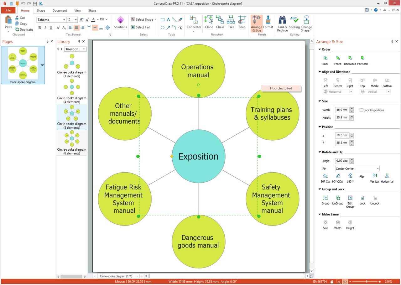 Basic Circle-Spoke Diagrams Solution for Microsoft Windows