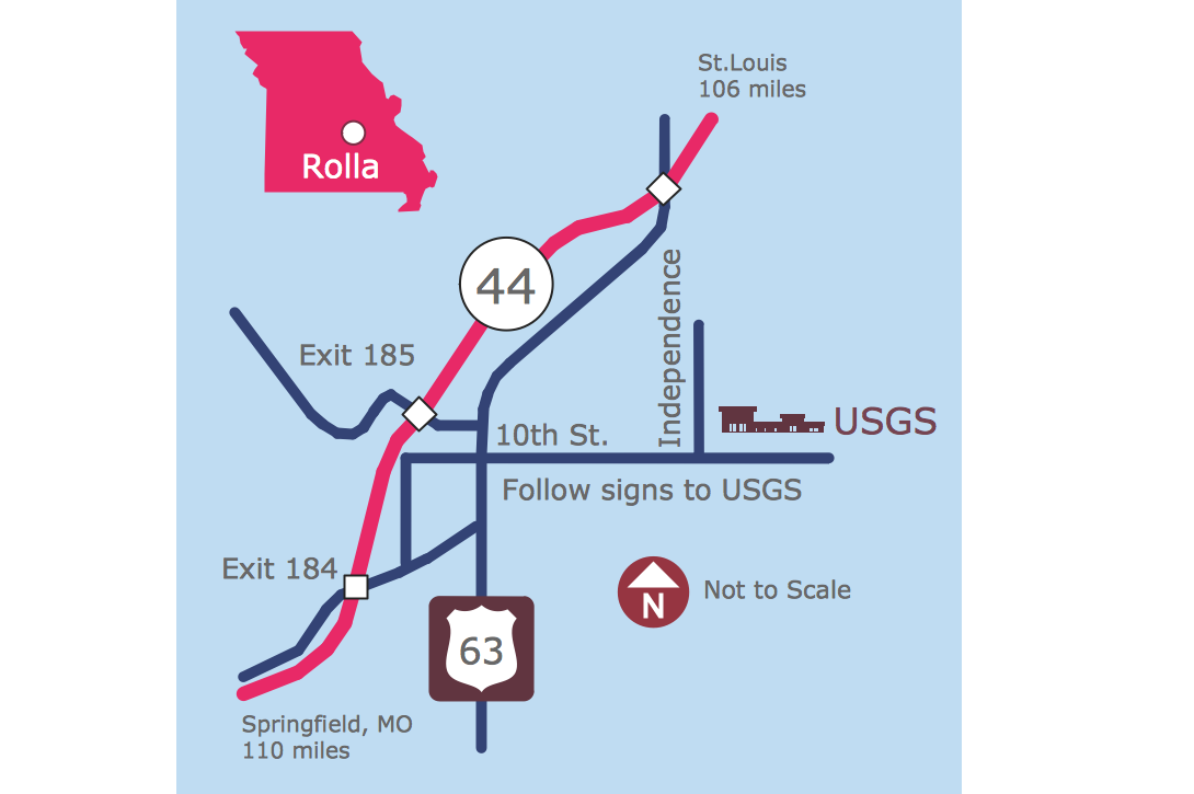 Rolla USGS Center Locator Map