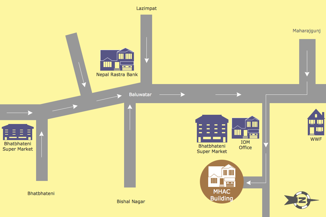 directions from home to work directional maps solution conceptdraw 30323